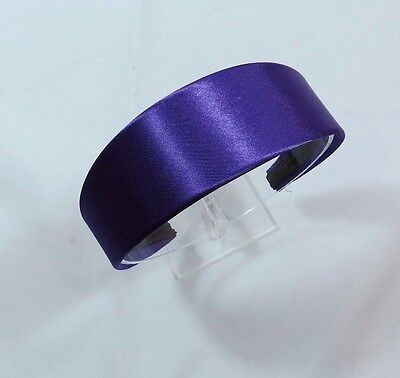 Classic Satin Headband 1 34 inches Purple Smooth Ouchless Dressy A