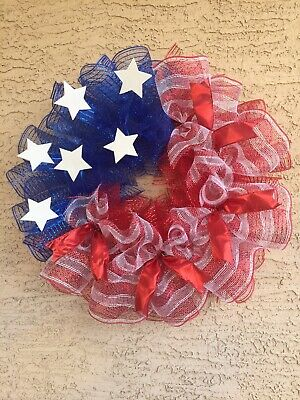 Patriotic 4th of July Wreath Door Wreath Independece Flag Memorial Labor Day USA