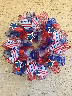 Patriotic 4th of July Wreath Independence Americana Memorial Labor Day USA Stars