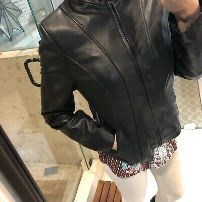 Collezione Womens Medium Black Motorcycle Leather Jacket M