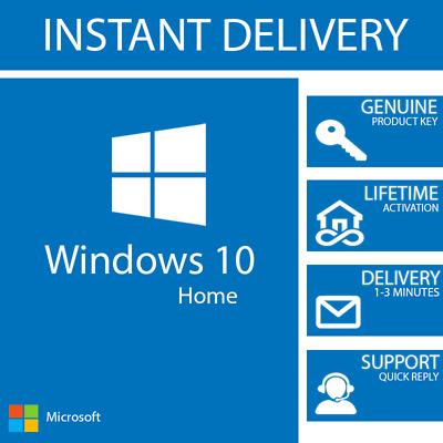 INSTANT WINDOWS 10 HOME KEY 32  64 BIT ACTIVATION CODE LICENSE
