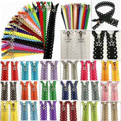 1216inch Star Lace Closed End Zippers 3 Nylon Sewing 5-10Pcs (20 color)