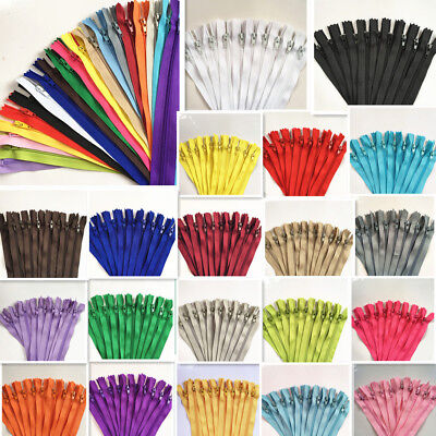 100pcs 3- 39-5 Inch Nylon Coil Zippers Bulk for Sewing Crafts mix 20 color