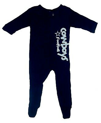DALLAS COWBOYS BABY SLEEPER PAJAMAS SOLID NAVY MANY SIZE TO SELECT FROM