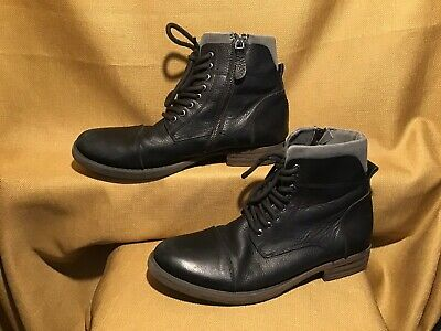 ALDO Mens size 10 BlackGray Ankle High Boots with ziplaces