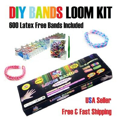 DIY Bands Loom Kit w 600 Colorful Bracelet Rainbow Bands Tools - Board Included