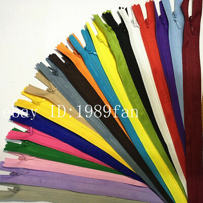 Nylon 3 Invisible Zippers 12-20 inch Tailor Sewing Craft 100 pcs 20 colors