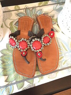 MYSTIQUE Multicolored Red Seashell Beaded Sandals Size 7 Pre-owned