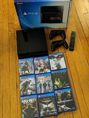 Sony PlayStation 4 PS4 - 500 GB Black Bundle - 9 Games 2 Controllers Remote