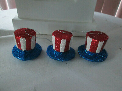 3- 2  Patriotic Red - White - Blue Glitter Hat Ornaments-4th of July New