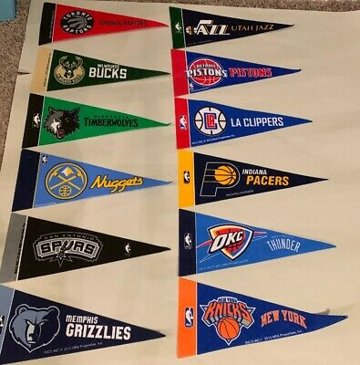 NBA Basketball Teams Mini Pennants Pick Your Team 4x9 Rico