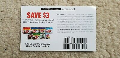 10 Boost 3 Coupons Good on any multipack or canister drinks Expire 10312019