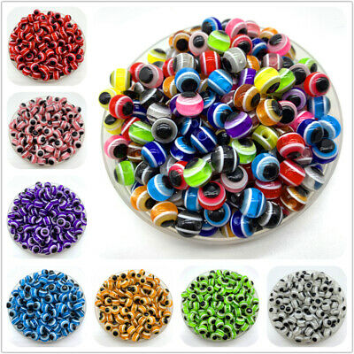 6mm 8mm 10mm Round Spacer Beads Evil Eye Beads Resin Beads For Jewelry Making