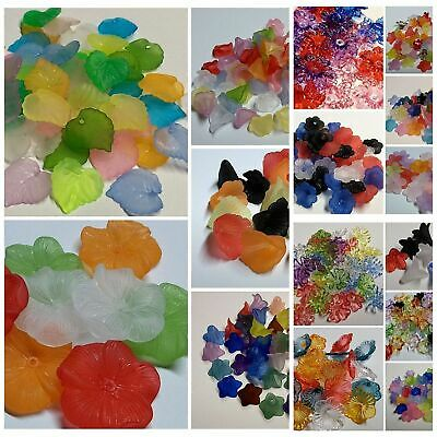 Acrylic Lucite Flower - Leaves Beads 15 Mixes to Choose From 8mm - 32mm