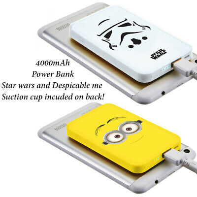 DESPICABLE ME Minions Star Wars Power Bank & Cable 4000 mAh Smart phone Tablet