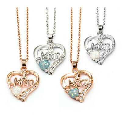 Women MOM Heart Shaped Artificial Opal Pendant Necklace The Mothers Day Gift US