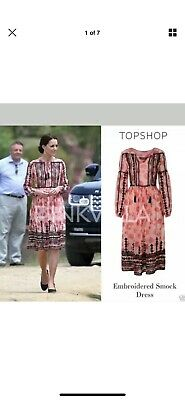 Topshop embroidered dress US 8 UK 12 As Seen On Kate Middleton