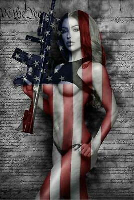SECOND AMENDMENT - SEXY PINUP POSTER 24x36 - HOT MODEL FLAG SECOND 54098