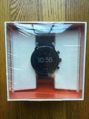 NEW Mens Smartwatch FOSSIL EXPLORIST HR FTW4018 Leather Black Touchscreen