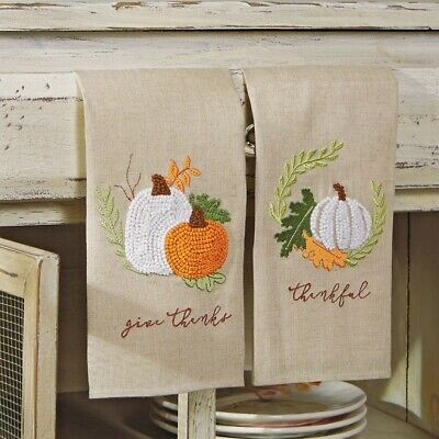 Mud Pie H9 Thanksgiving Gather Pumpkin French Knot Towel 44000003