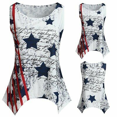 2019 Womens Sleeveless Stars Striped Print Top For 4th Of July