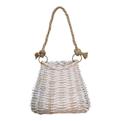 Primitive Shabby COTTAGE WOVEN Whitewashed Willow BASKET French Country Hanging
