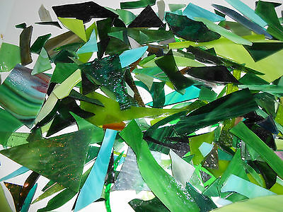 STAINED GLASS MOSAIC PIECES TWO Full Pounds- COLOR GREENS