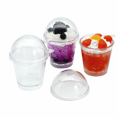 20Pcs Plastic Cups Miniature Frappuccino Cup - Cover Lid Cake Ice Cream Cups USA