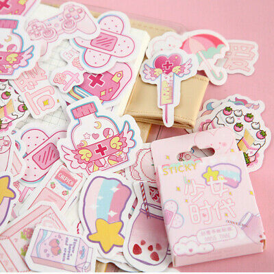 46PCS Cute Stickers Kawaii Stationery DIY Scrapbooking Diary Label Sticker Decor