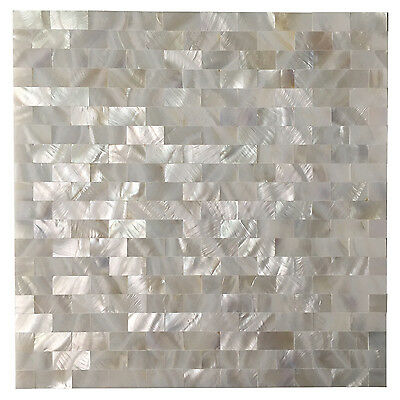 Peel and Stick Mother of Pearl Shell Mosaic Tile for Kitchen Backsplashes White