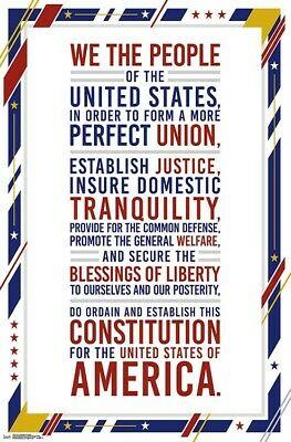 US CONSTITUTION - PREAMBLE POSTER 22x34 - HISTORY LEARNING 17649