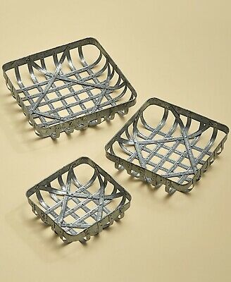 Set of 3 Tobacco Storage Baskets Rustic Country Farmhouse Kitchen Home Decor