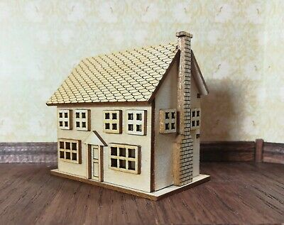 Dollhouse Miniature 1144 Scale Kit House 2 Story with Fireplace 5 Rooms