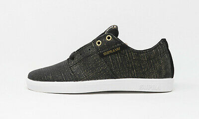 SUPRA Men Stacks Tip Shoes Black White Synthetic Leather Skateboarding Sneakers