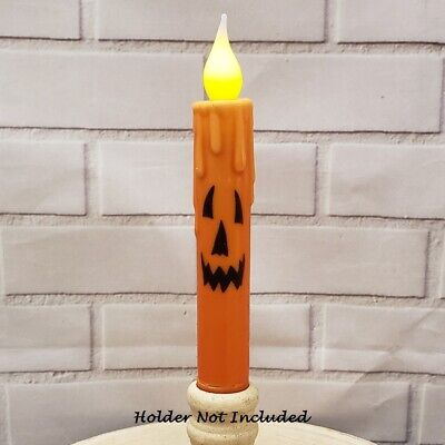 HALLOWEEN TIMER TAPER CANDLE  6-75 JACK O LANTERN FACE Grungy