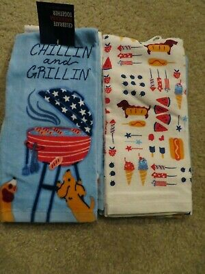 Fourth of July Dachshund Wiener Barbecue Grilling Kitchen Towels Fireworks NWT