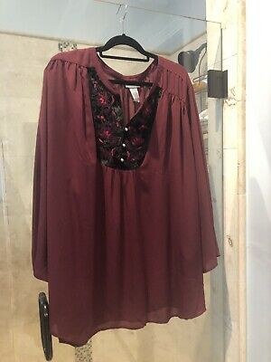 New Catherines 5x top Velvet Rose Accent Maroon Red Purple Semi Sheer