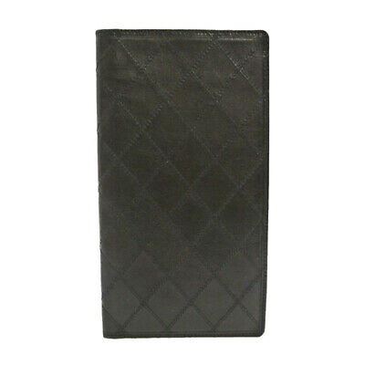 Authentic CHANEL Vintage Quilted Bifold Black Leather S308075