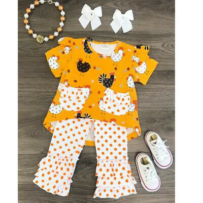 US Stock Thanksgiving Kids Baby Girl Clothes Turkey Tops Leggings Pants Outfits