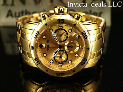 Invicta Mens 48mm PRO DIVER Scuba Chronograph Gold Dial 18K Gold Plated Watch