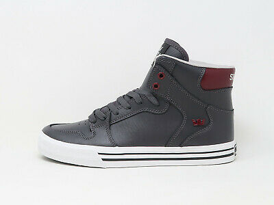 SUPRA Men Shoes Vaider Charcoal Gray White Maroon Synthetic Leather
