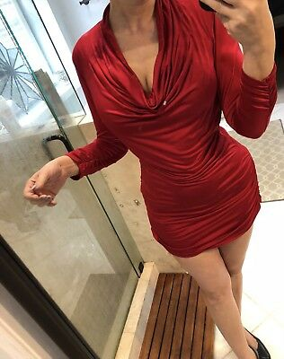 Caché Red Cocktail Party Holiday Bodycon Sheath Dress M Mini Tunic Sexy
