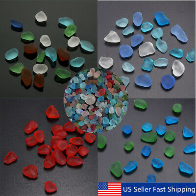 Lot Sea Beach Glass Beads Mixed Colors Bulk Blue Red Green Jewelry Pendant