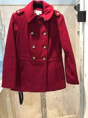 Michael Kors Womens Pea Coat Jacket Double Breasted Red S Small Wool Blend