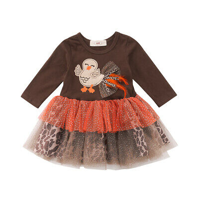 US Newborn Baby Girl Thanksgiving Outfits Long Sleeve Turkey Leopard Tulle Dress