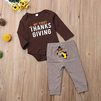 US My First Thanksgiving Baby Boy Girl Outfit Romper-Striped Turkey Pants 2Pcs