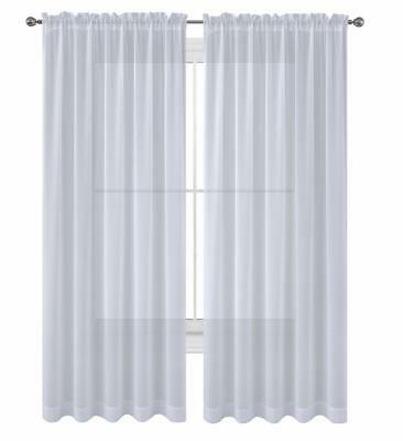 Sheer 2Pc Window Treatments Curtain Panels 84 Inch Long  Polyester 10- colors
