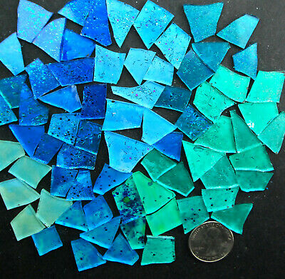 BLUE Mosaic Glass Tile 100 pieces of BEST BLUE MIX by Makena Tile