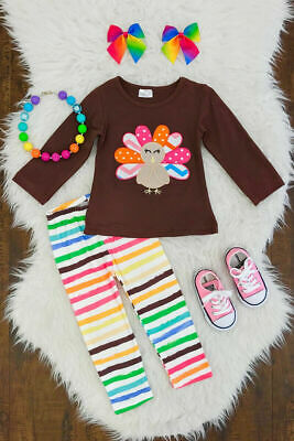 US 2pcs Toddler Kids Girl Thanksgiving Clothes Turkey Tops Shirt Pants Outfits