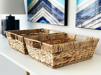Rectangular Water Hyacinth Basket Set of 2 by Handcrafted 4 Home